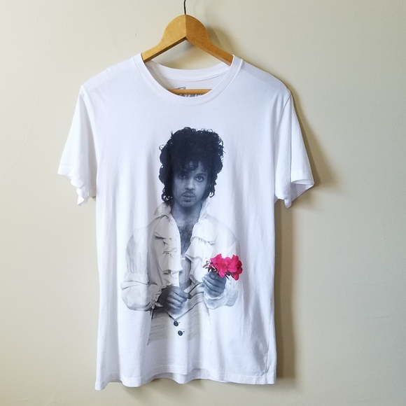 Prince Tops - Prince Red Rose White Shirt Graphic T Shirt S/M